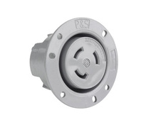 30 Amp Non-NEMA 3 Wire Flanged Outlet, Gray