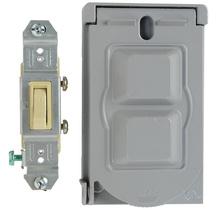 Cast Weatherproof Cover Single Pole Toggle Switch, Gray