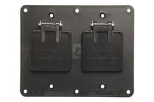 2-Gang Flip Lid 2-1.56 Diameter Openings Cover Plate, Black