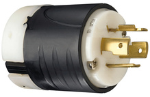 20 Amp NEMA Plug L1420 - Black Back, White Front Body