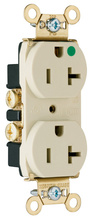 Heavy-Duty Hospital Grade Smooth Face Receptacles, Back & Side Wire, 20A, 125V, Ivory