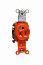 Isolated Ground Heavy-Duty Spec Grade Single Receptacles, Back & Side Wire, 15A, 125V, Orange