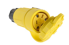 15/10A, 125/250V Watertight Straight Blade Connector, Yellow