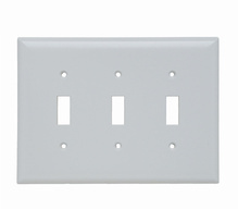 Toggle Switch Openings, Three Gang, White
