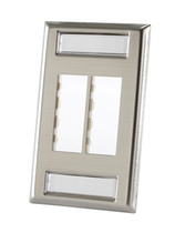 TRACJACK STAINLESS STEEL FACEPLATE, FOUR-PORT Single gang plate