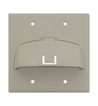Double Gang Hinged Bullnose Wall Plate, Light Almond