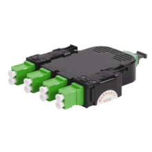 8-FIBER OS2 HDCA CASSETTE WITH 8 LC ANGLED DUPLEX ADAPTERS TO 1 MPO F- TIER 2- UNIVERSAL POLARITY - GREEN