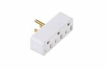 15A/125V Plug-in Adapter, 2 Pole, 3 Wire,  White