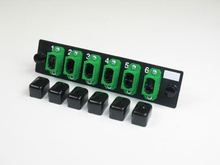 6-MPO single mode green feed-through adapters, type A
