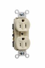 Tamper-Resistant Hard Use Spec Grade Receptacle, Back & Side Wire, 15A, 125V, Ivory
