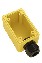 "Watertight Deep Yellow Back Box, 1"""" NPT Opening for Single Receptacles"