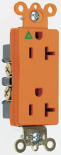 Isolated Ground Heavy-Duty Decorator Spec Grade Receptacles, Back & Side Wire, 20A, 125V, Orange