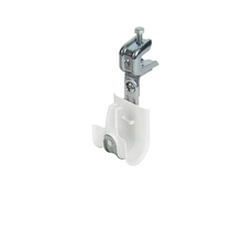 1'' White Plastic Coated J-Hook w/ Latch & 90° Angle Clip Press-on Beam Clip 1/2'' Box of 25 [F000667]
