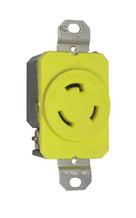 20 Amp NEMA L520 Single Receptacle, Yellow, Corrosion-Resistant