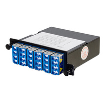 24-FIBER OS2 M4 CASSETTE WITH 6 LC QUAD ADAPTERS TO 3 MPO F- TIER 1- UNIVERSAL POLARITY FLIPPED- BLUE
