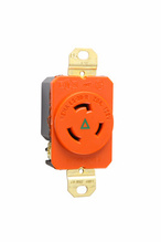 20 Amp NEMA L520 Single Receptacle, Orange, Isolated Ground