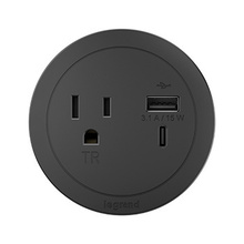 ROUND FPC, 1 OUTLET, USB, BLACK COMBO USB-A AND USB-C