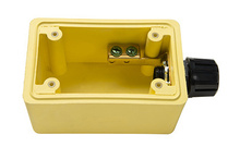 "Watertight Deep Yellow Back Box, 1/2"""" NPT Opening for Single Receptacles"