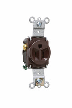 Heavy-Duty Spec Grade Single Receptacles, Back & Side Wire, 15A, 125V, Brown