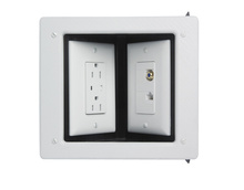 Two-Gang Commercial Metal Recessed TV Box, White