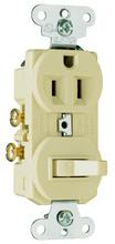 15A, 120/125V Combination Single-Pole Switch & Single Receptacle, Ivory