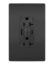 radiant 20A Tamper Resistant Outdoor Self Test GFCI USB Type AC Outlet  Black