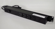 Rack Mount 120V/15A/2 front O/L, 4 rear O/L /lighted switch/15' cord