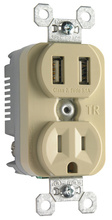 Tamper-Resistant Single Receptacle w/ 3.1A USB Charger, Ivory