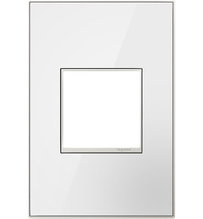 adorne® Mirror White-on-White One-Gang Screwless Wall Plate