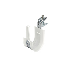 2'' White Plastic Coated J-Hook w/ Latch & Press-on Beam Clip 1/2'' Box of 25 [F000683]