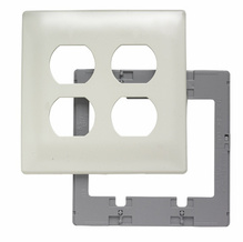 Two Gang Duplex Receptacle Screwless Wall Plate with Plastic Sub-plate, Light Almond