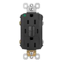 radiant 15A Hospital Grade Tamper Resistant Self Test GFCI USB Type CC Outlet Black