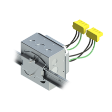 4'' Square Box with 2-Gang 5/8'' Plaster Ring and 2 Grounded PlugTail Switch Connectors with protective mud cover - Box of 10 [EF000032]
