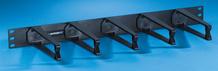 Cable Management Panel - five horizontal polycarbonate plastic distribution rings 1.75 H x 6 in D - 1 rack unit - black
