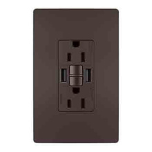 radiant® 15A Tamper-Resistant Self-Test GFCI USB Type-AA Outlet, Dark Bronze, 4-Pack