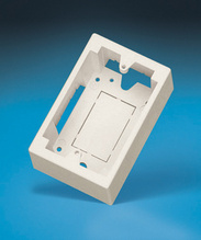 "SURFACE MOUNT OUTLET BOX (SINGLE GANG), 2"" DEEP, FOG WHITE"