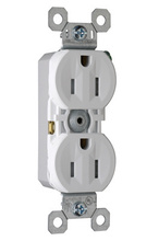 15A/125V TradeMaster Tamper-Resistant 8-Hole/Push Wire Receptacle, White