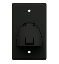 Single Gang Hinged Bullnose Wall Plate, Black