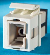 1-SC fiber Keystone module, Wiremold Ivory