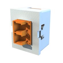 TracJack Module, Keyed Front Keyed Rear LC Duplex, Ceramic Lined, MM/SM, Flush Mount, Orange