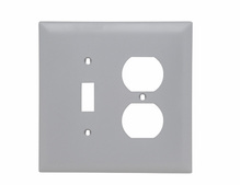Combination Openings, 1 Toggle Switch & 1 Duplex Receptacle, Two Gang, Gray