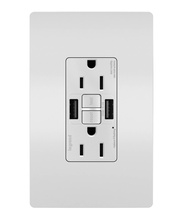 radiant® 15A Tamper-Resistant Self-Test GFCI USB Type-AA Outlet, White