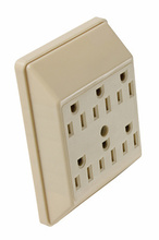 15A/125V Plug-in Adapter, 2 Pole, 3 Wire, Ivory