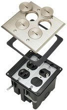 Tamper-Resistant Floor Box Assembly - Two Gang for Wood Sub-Floors