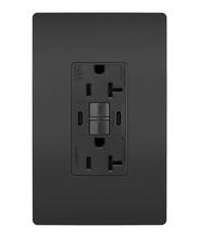 radiant 20A Tamper Resistant Outdoor Self Test GFCI USB Type CC Outlet, Black