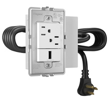 Furniture Power, Outlet and USB Port, White