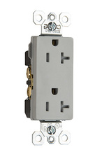 TR26342GRY Tamper-Resistant Decorator Spec Grade Receptacle,Side Wire Only, 20A, 125V, Gray