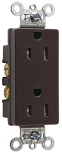 Heavy-Duty Decorator Spec Grade Receptacles, Side Wire, 15A, 125V, Brown