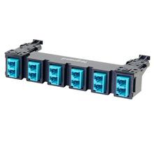 HDJ Series 6 LC Duplex to LC Duplex Fiber Adapter Panel, 12-Fiber OM3 - Aqua