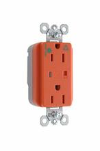 PlugTail® Hospital Grade Isolated Ground Surge Protective Duplex Receptacle, Orange